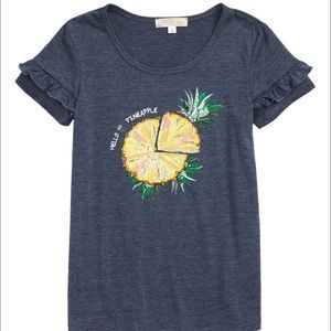 Truly Me Pineapple Slice Tunic Tee Blue Size 3 T